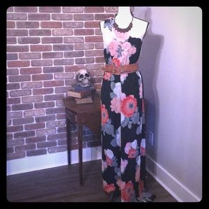 Alice+Olivia one shoulder floral jumpsuit chiffon